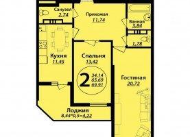 2-комнатная квартира на продажу, 70.4 м2, Краснодар, Душистая улица, 77